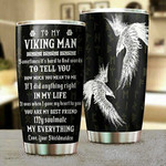 Personalized To My Viking Man Tumbler Block Of Gear Stainless Steel Tumbler 20oz Happy Father's Day Birthday Chrismast Family Day Special Day By Meaningful Gifts From Lovely Persons