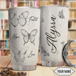 Personalized Faith Butterfly Sketch Faith Hope Love Stainless Steel Tumbler, 20 Oz Tumbler Cups For Coffee/Tea, Gifts For Birthday Christmas Thanksgiving, Perfect Gifts For Butterfly Lovers