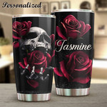 Personalized Skull And Roses Stainless Steel Tumbler, Tumbler Cups For Coffee/Tea, Great Customized Gifts For Birthday Anniversary