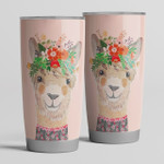 Personalized Llama Alpaca Floral Flower Tumbler, Customized Gifts For Birthday Christmas, Thanksgiving Perfect Gifts For Llama Lover, Wife, Girlfriend