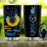 Peace Love Cure Diabetes Tumbler Cup Begin Each Day With A Happy Heart Stainless Steel Insulated Tumbler 20 Oz Best Gifts For Birthday Christmas Thanksgiving Tumbler For Coffee/ Tea