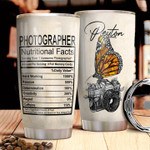 Personalized Photography Tumbler Butterfly And Camera Tumbler Cup Stainless Steel Tumbler, Tumbler Cups For Coffee/Tea, Great Customized Gifts For Birthday Christmas