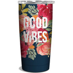 Personalized Blooming Flower Good Vibes Stainless Steel Vacuum Insulated Double Wall Travel Tumbler With Lid, Tumbler Cups For Coffee/Tea, Perfect Gifts For Birthday Mother's Day Thanksgiving