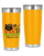 5th Grade Teacher, Masked & Vaccinated Stainless Steel Tumbler, Tumbler Cups For Coffee/Tea