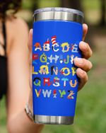 Alphabets Cartoon Style In Blue Stainless Steel Tumbler Cup For Coffee/Tea