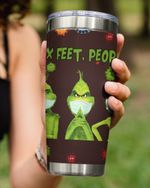 6 Feet People Stay Away From Me, Grinch Sitting Stainless Steel Tumbler Cup For Coffee/Tea