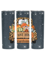 Love Being Paraprofessional Cartoon Car And Pumpkin Stainless Steel Tumbler, Tumbler Cups For Coffee/Tea