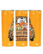 Love Being Librarian Cartoon Car And Pumpkin Stainless Steel Tumbler, Tumbler Cups For Coffee/Tea