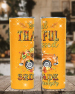 Greatful Thankful Blessed 3rd Grade Teacher Stainless Steel Tumbler, Tumbler Cups For Coffee/Tea