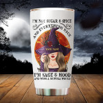 Personalized I'm Not Sugar And Spice And Everything Nice Witch Funny Gifts For Mother Father Brother Sister From Daughter Son Friendship Besties Forever Tumbler 20oz