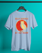 Red Sun Hello Darkness My Old Friend Owl Short-Sleeves Tshirt, Pullover Hoodie, Great Gift For Thanksgiving Birthday Christmas