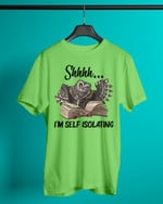 Reading Owl Shhhh I'm Self Isolating Short-Sleeves Tshirt, Pullover Hoodie, Great Gift For Thanksgiving Birthday Christmas