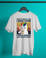 Retro Navy Coffee Unicorn That's What I Do Short-Sleeves Tshirt, Pullover Hoodie, Great Gift For Thanksgiving Birthday Christmas