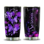 Personalized God Faith Hope Purple Butterfly 20oz Stainless Steel Tumbler Cup With Lid