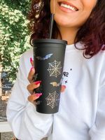 Bats and Spiders Matte Halloween Tumbler Stainless Steel Tumbler, Tumbler Cups For Coffee/Tea