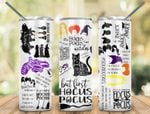 Hocus Pocus With Words And Cats For Halloween Stainless Steel Tumbler, Tumbler Cups For Coffee/Tea