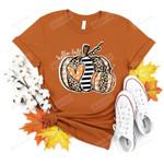 Hello Fall Pumpkin Shirt, Leopard Striped Plaid Pumpkin Shirt, Thanksgiving Shirt, Fall Vibes T-Shirt