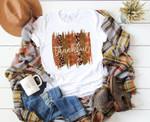 Thanksgiving Shirt, Fall T-Shirt, Leopard Shirt Womens Thankful Shirt, Cute Fall Graphic Tee