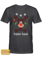 Personalized Cutest Reindeer Squad with red plain Teacher Life