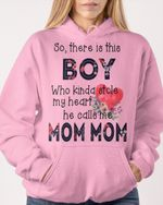 Personalized This Boy Stole My Heart Grandma Stickers Shirts Hoodies Cups Mugs Totes Handbags