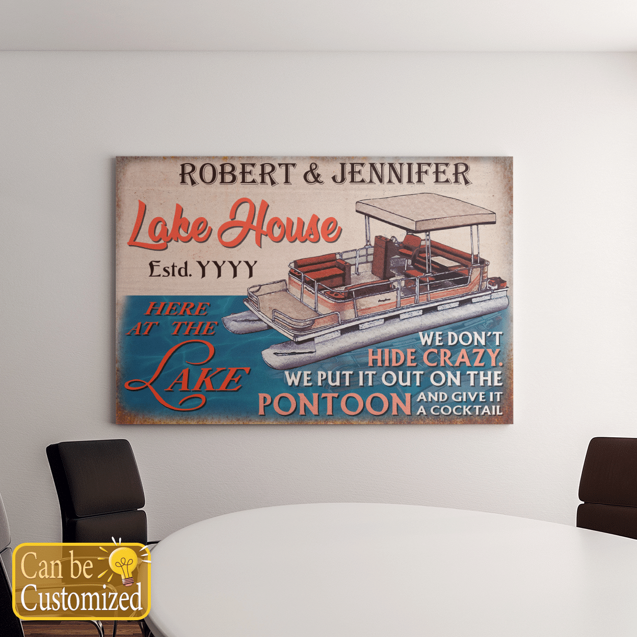Personalized Couple Lake House And Pontoon Canvases Pictures Puzzles Posters Quilts Blankets