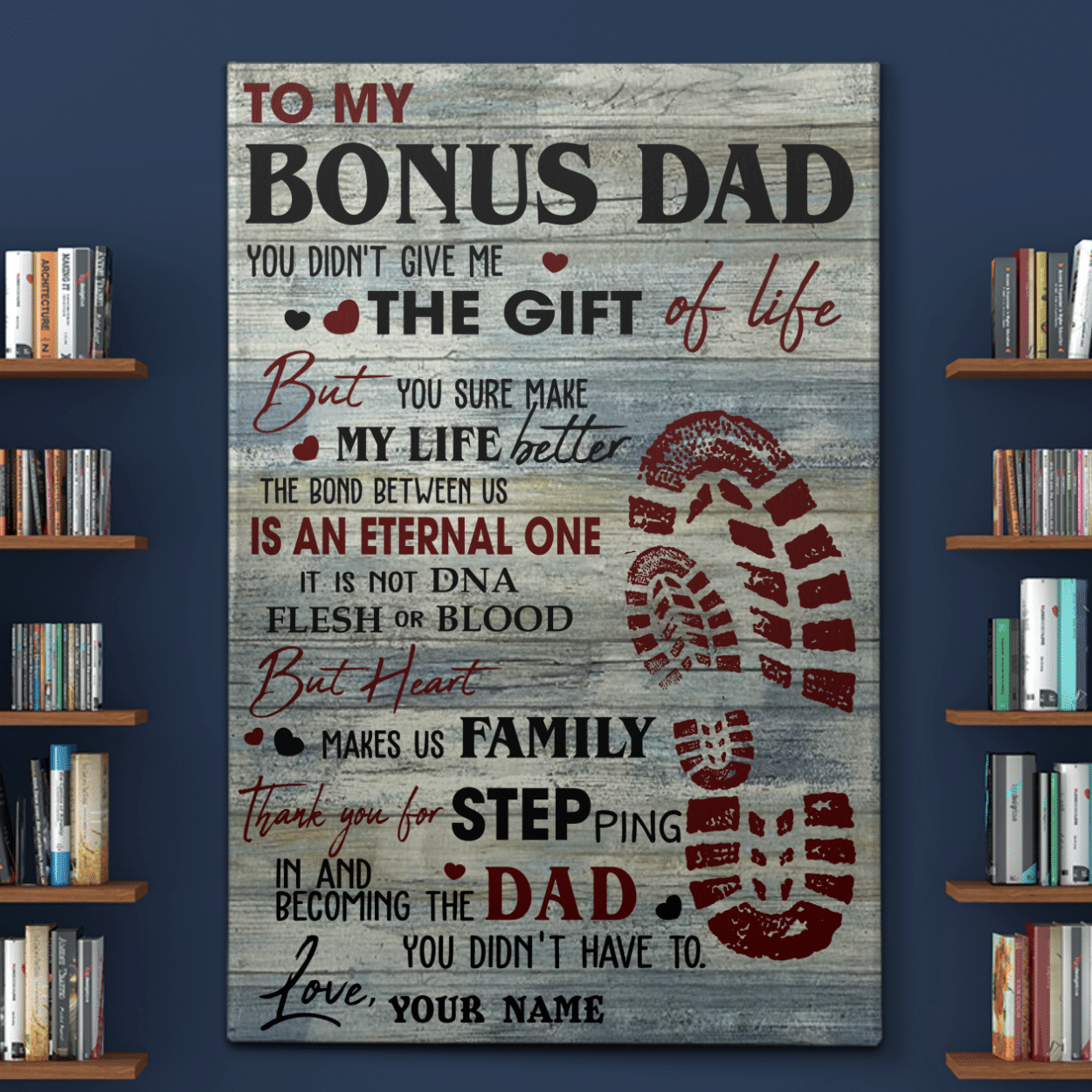 Personalized To My Bonus Dad - Stepdad Canvases Pictures Posters Puzzles Blankets Quilts Shower Curtains