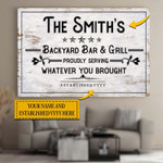Personalized Backyard Bar And Grill Canvases Pictures Puzzles Posters Quilts Blankets