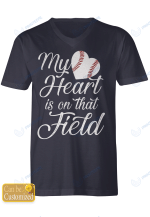 Personalized Sport Softball Baseball My Heart Is On That Field Stickers Shirts Hoodies Cups Mugs Totes Handbags