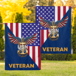 Navy American Eagle Veteran Flags Canvases Posters Pictures Puzzles Quilts Blankets Shower Curtains