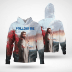 Jesus Follow Me (God - Christ - Christians, Canvases, Posters, Pictures, Puzzles, Quilts, Blankets, Shower Curtains, Flags, T-shirts, Hoodies, Sweatshirts, Hawaii Shirts, Baseball Jerseys, Tank Tops)