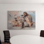 Jesus And Chihuahua Dogs (Jesus - Christs - Christians, Canvases, Pictures, Puzzles, Posters, Quilts, Blankets)