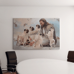 Jesus And Pug Dogs (Jesus - Christs - Christians, Canvases, Pictures, Puzzles, Posters, Quilts, Blankets)