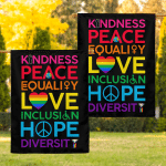 Kindness Peace (Rainbow Pride - Canvases, Posters, Pictures, Led Lamps, Stickers, Puzzles, Quilts, Blankets, Shower Curtains, Flags, Rugs)