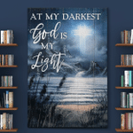 At My Darkest God Is My Light (Jesus - Christ - Christians Canvases, Posters, Pictures, Blankets, Shower Curtains, Flags, Bath Mats, Led Lamp)
