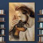 Jesus And Miniature Pinscher Dogs (Canvases, Posters, Pictures, Puzzles, Quilts, Blankets, Shower Curtains)