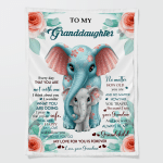 To My Granddaughter Elephant Blanket (Quilts, Blankets, Bedding Sets, Shower Curtains, Canvases, Posters, Pictures, Puzzles, Led Lamp, Stickers)