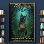 A Wtch Lives Here Black Cat Halloween (Canvases, Posters, Pictures, Puzzles, Quilts, Blankets, Shower Curtains, Led Lamp, Stickers)