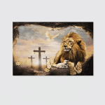 Jesus And Lion (Christs - Christians, Canvases, Pictures, Puzzles, Posters, Quilts, Blankets,  Stickers)