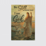 Jesus With Lamb I Am God (Christs - Christians, Canvases, Posters, Pictures, Puzzles, Quilts, Blankets, Shower Curtains, Led Lamp, Stickers)