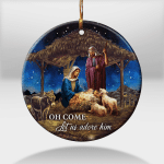 Jesus - Oh Come, Let Us Adore Him (Led Lamp, Ornaments, Stickers, Totes, Handbags, Cups, Mugs, Pillows)