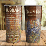 You And Me Deer Hunting Tumbler To Husband From Wife
