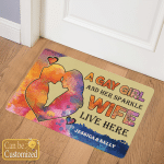 Personalized Name A Girl And Her Wife Live Here Doormat