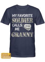 Personalized Soldier Granny Grandparents Grandma Grandmother Shirts Hoodies Cups Mugs Hand Bags Totes