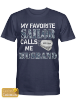 Personalized Sailor Husband Wife Shirts Hoodies Cups Mugs Hand Bags Totes