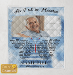 Personalized Image And Name As I Sit In Heaven Blankets / Quilts / Canvas / Posters