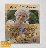 Personalized Image And Name As I Sit In Heaven Blankets / Quilts / Canvas / Posters Memory Memorial Loss For Ones In Heaven