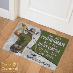 Personalized Old Fisherman And Best Catch Of Life Doormats Mats Flags Posters Puzzles
