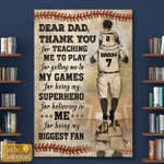 Baseball Dad And Son Thank You Father's Day Gifts Canvases Posters Pictures Puzzles Quilts Blankets Shower Curtains Christ Christian