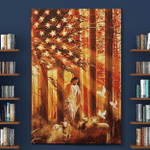 Jesus And Lamp America Christs Christians Flags Canvases Posters Pictures Puzzles Quilts Blankets Shower Curtains