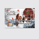 Just Breathe Horses Christmas (Jesus - Christ - Christians Canvases, Posters, Pictures, Puzzles, Quilts, Blankets, Shower Curtains, Stickers)